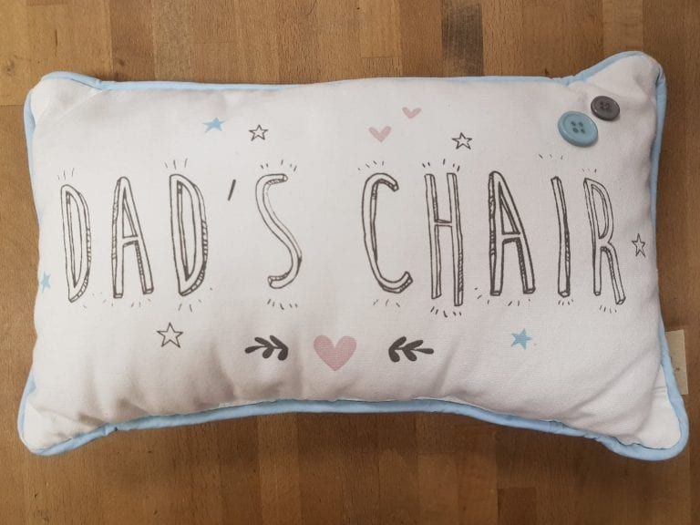Dad's chair pillow available at Bratts Northwich